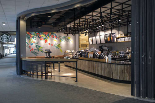 Paintings by Allegra Lockstadt seen at 900 Nicollet Mall, Minneapolis - Custom interior mural for a Starbucks store for Target's Minneapolis flagship store
