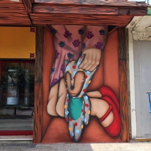 Murals by Tony Gallo seen at Cinema Rex Padova, Padova - Mural