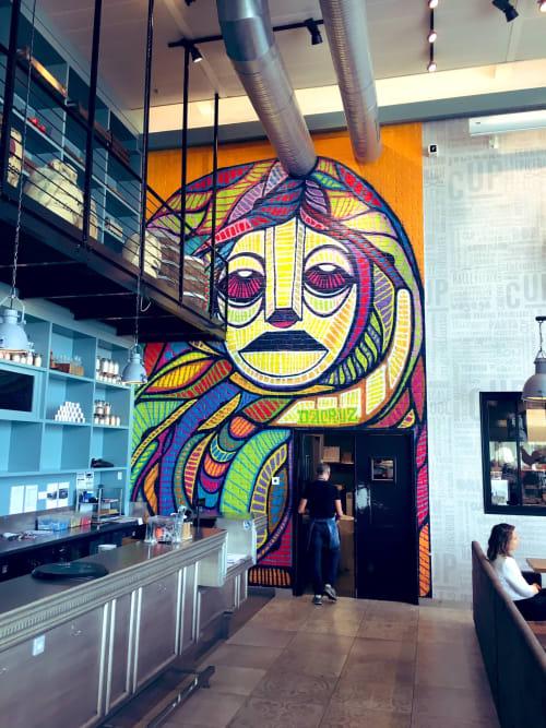 Murals by dAcRuZ seen at South Terminal, Paray-Vieille-Poste - Woman waiting