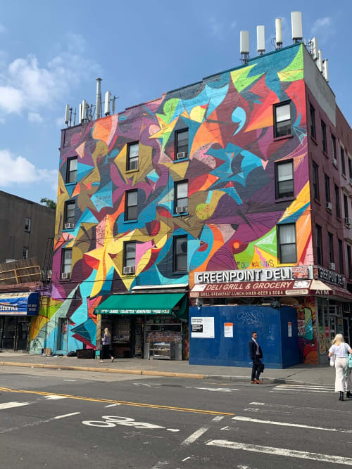 Street Murals by Ola Kalnins seen at Greenpoint Deli, Brooklyn - Greenpoint & Manhattan Avenue Mural