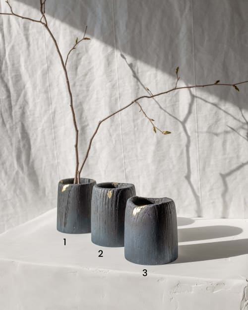 Vases & Vessels by Whirl & Whittle - Midnight Blue Cups/ Bud Vases