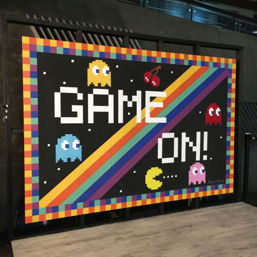 Murals by Paperlily Studio seen at QV Melbourne, Melbourne - Game/On Mural for QV