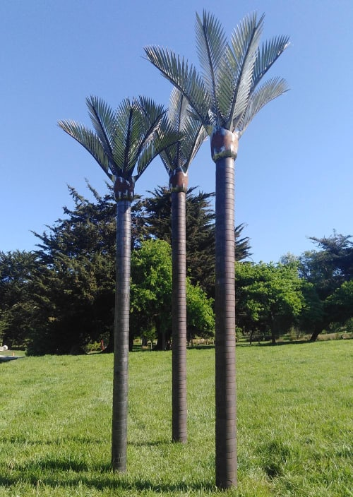 Sculptures by Jane Downes seen at Private Residence, Christchurch - Nikau Palms