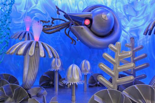 Sculptures by Nemo Gould seen at Monterey Bay Aquarium, Monterey - Cephalopods exhibit