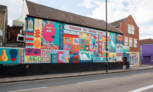 Street Murals by Sophie Rae seen at St.Georges Club, St.George's - Welcome To Church Road