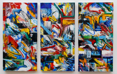 Paintings by Jack Ready seen at Private Residence, Atlanta - Primary Triptych 3