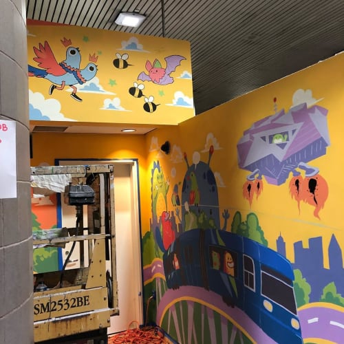 Murals by FoxySwine seen at Hartsfield-Jackson Atlanta International Airport, Atlanta - Mural