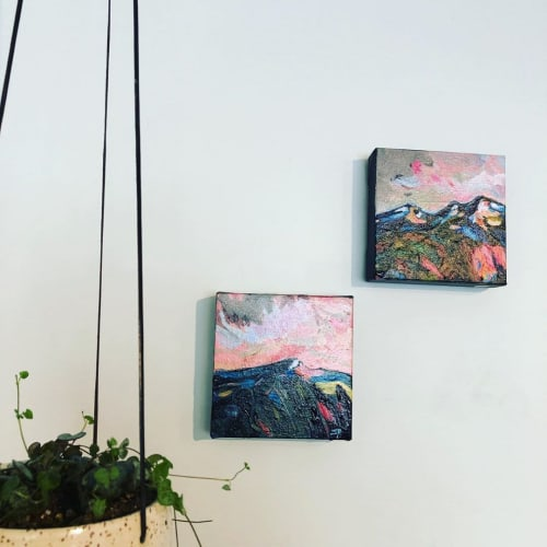 "Paintings by Sally Podmore seen at Rusty Rooster life.style, Cumberland - ""Beaufort Mountain Range"" Mini Paintings"