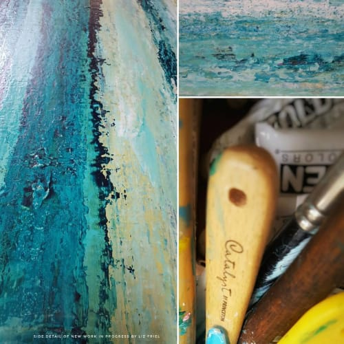 Paintings by Liz Friel seen at Private Residence, Parkland - Swimming in the Turquoise - SOLD