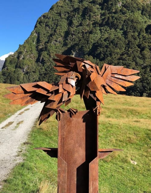 Public Sculptures by Simon Max Bannister seen at Rob Roy Glacier Track - Kea Sculpture