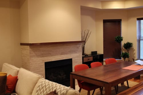 Tables by GlessBoards seen at Private Residence, Chicago - Walnut Table, Bench, and Mantle