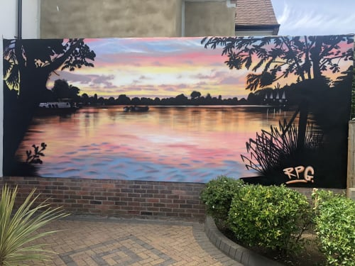 Murals by Rory Gallagher RPG Studio seen at Private Residence, Weybridge - Thames sunset