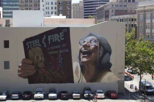 Street Murals by BiP seen at 1600 Broadway, Oakland, CA, Oakland - Vintage