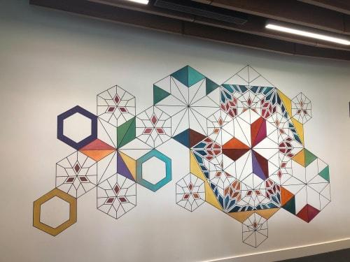 Murals by Buse Kanlikilic Art seen at Facebook Data Center Reception - Facebook Data Center Mural