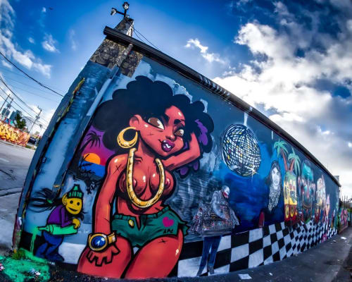 Street Murals by Merk Aveli seen at Wynwood Art District, Miami - Wynwood Art District Mural