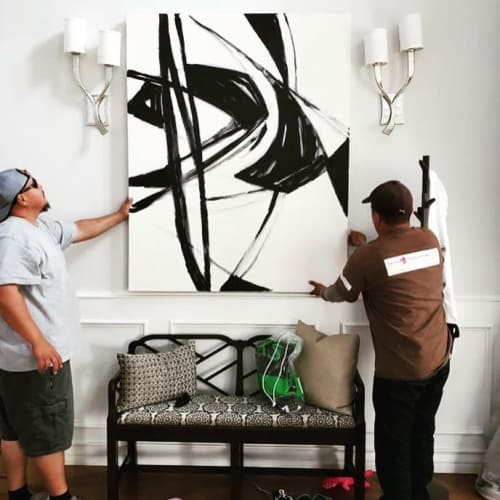 Paintings by Kari Kroll seen at Private Residence, Los Angeles - Black and White Abstract