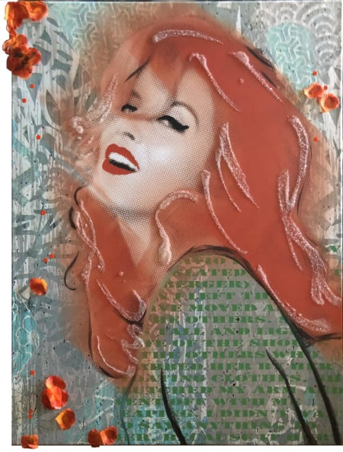 Paintings by Tina Psoinos art + photography seen at Private Residence, Stamford - Ann Margret Orange Green