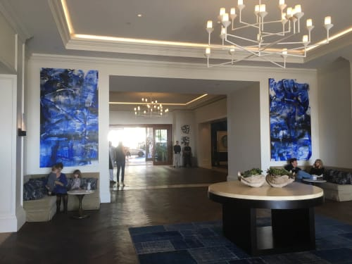 Paintings by Chris Trueman seen at Monarch Beach Resort, Dana Point - Large Blue Abstract Duo