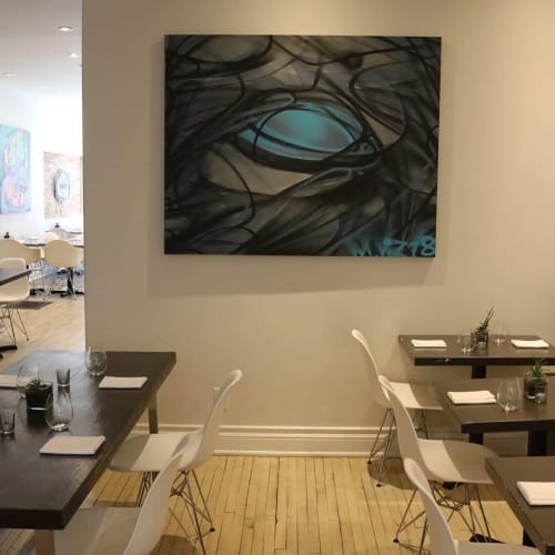 Paintings by Mathew Vizbulis seen at Bolete Restaurant, St. Catharines - Graffuturism Art Piece