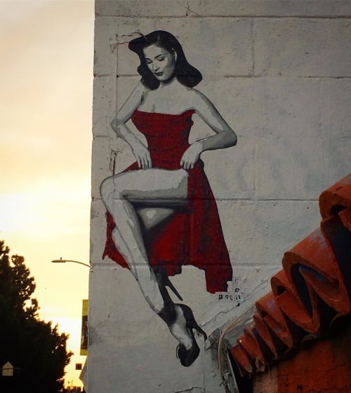Street Murals by Polarbear - Stencils seen at Melrose Avenue, Los Angeles - Dita