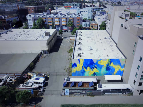 "Murals by Nicole Mueller at San Francisco, San Francisco - ""Overlook in Blue"" Dogpatch Mural"
