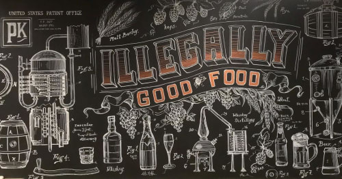 Murals by Kara Bella Art seen at Prohibition Port Jefferson, Port Jefferson - ILEGGALLY GOOD FOOD