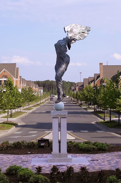 Public Sculptures by Romolo Del Deo seen at Port Warwick, Newport News - Melpomene (Homage to William Styron)