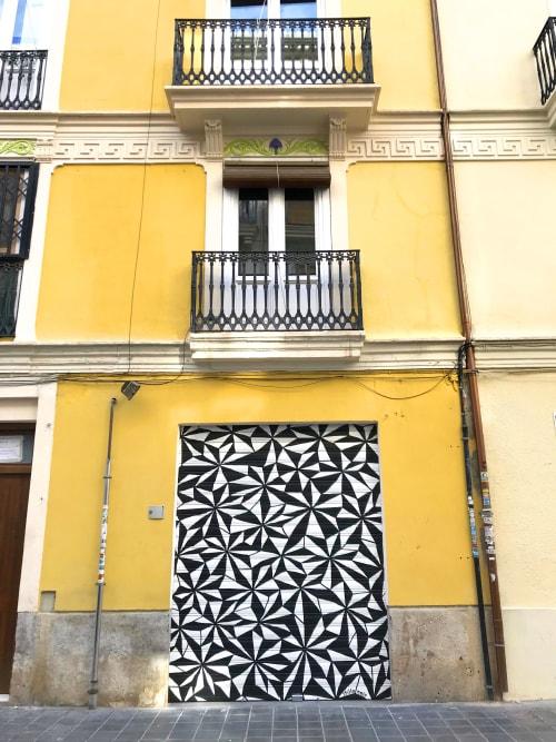 Murals by Stillo Noir seen at Carrer de Borrull, 11, València - Crystal Glass Shutter Mural
