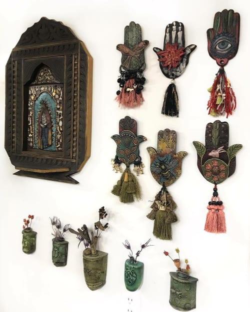 Wall Hangings by Marie EvB Gibbons ART seen at evb•studio, Wheat Ridge - Hamsas, Milagros & Weedpots