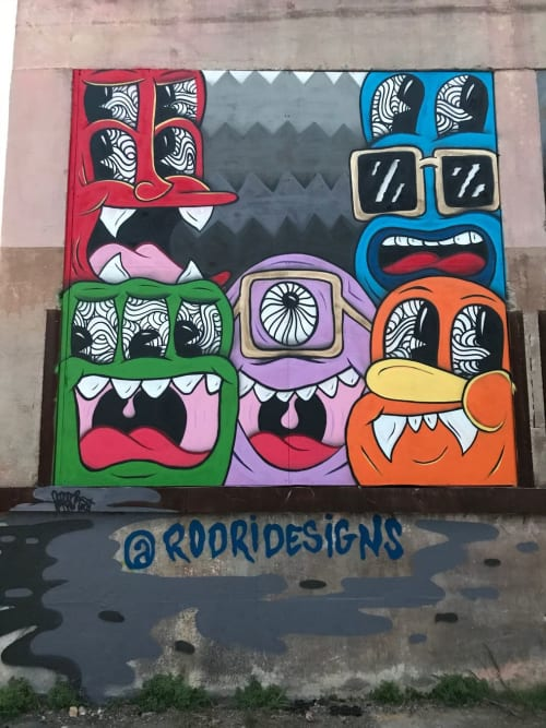 Street Murals by Jorge-Miguel Rodriguez seen at Essex Modern City, San Antonio - Texas Monsters