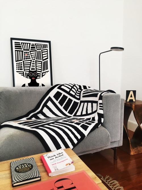 Linens & Bedding by Mariana Lancastre seen at Private Residence, Johannesburg - Artist-designed blanket: Americanah