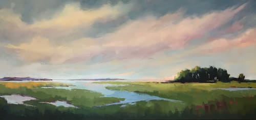 "Paintings by Carrie Megan seen at Private Residence - ""Salt Marsh Memory,"" painting"