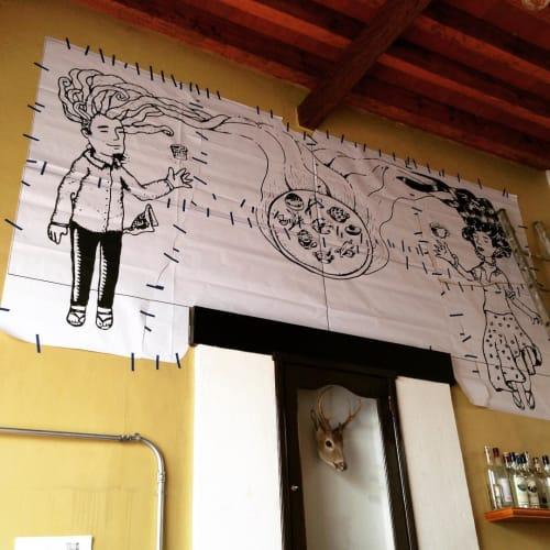 Murals by Miguel Ayuso (The Mexiyorker) seen at El Destilado, Oaxaca de Juárez - Indoor Mural