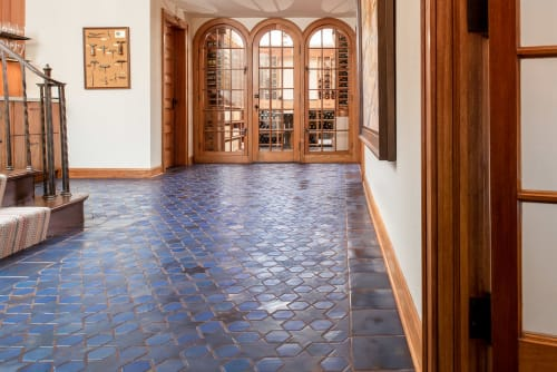 Tiles by Clay Squared to Infinity seen at Private Residence, Edina - Stars and Hex Tile Floor