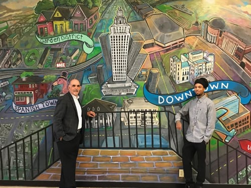 Murals by Skinny Dope seen at Raising Cane's River Center Arena, Baton Rouge - Indoor Mural