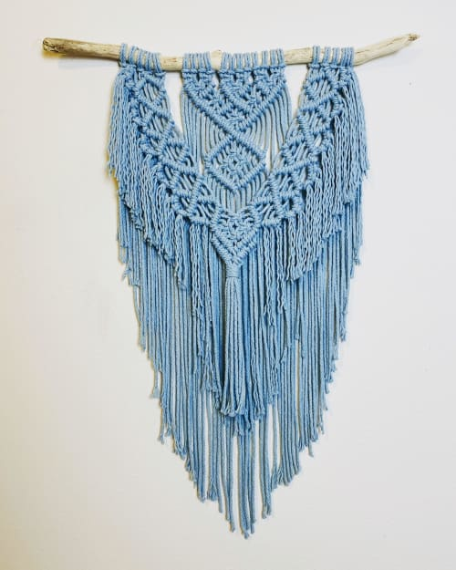 Macrame Wall Hanging by Cosmic String Fiber Art seen at Private Residence, Chicago - Light Blue Macramé Wall Hanging with Fringe - Blue Modern Macramé Tapestry