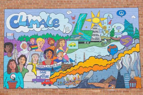 Street Murals by Pamela Rojas seen at Wilfrid Laurier University, Waterloo - Climate is Life