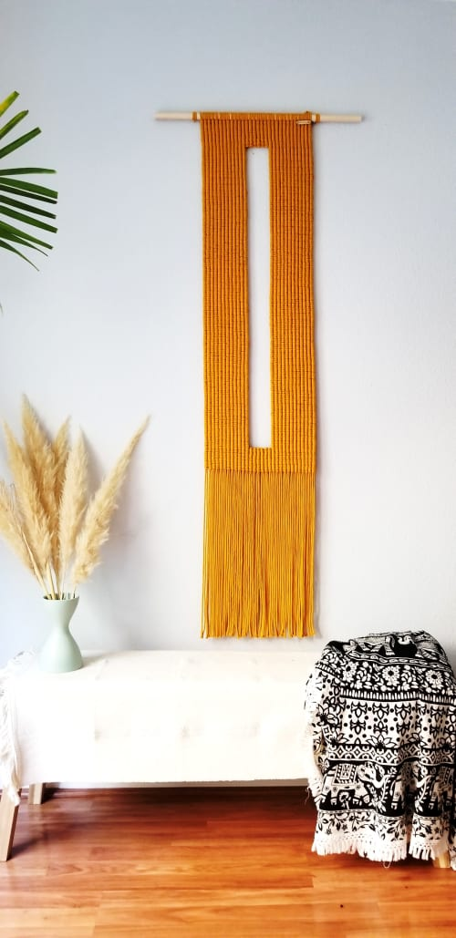 Macrame Wall Hanging by YASHI DESIGNS seen at Private Residence, Milpitas - Key- Hole Macrame Wall Hanging in Mustard