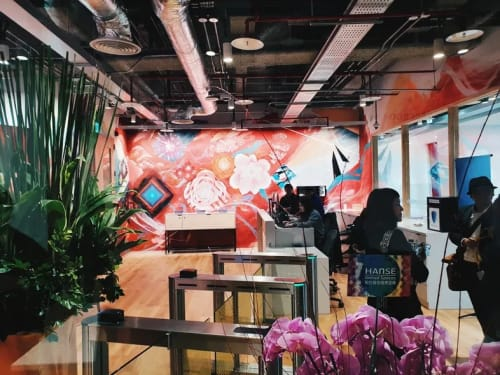 Murals by DEBE seen at Xinyi District - Facebook Office Taiwan Mural