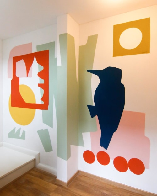 Murals by Floor Milou Smit seen at Private Residence, Utrecht - Squirrel and woodpecker mural
