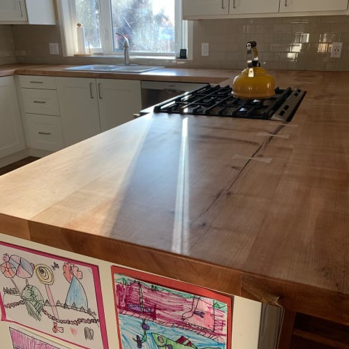 Furniture by Mozack Wood seen at Private Residence, Calgary - Countertop