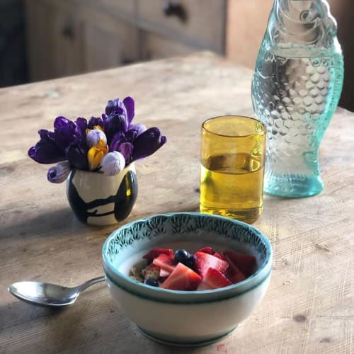Vases & Vessels by Sandra Brown T/A Creative Ceramics seen at Private Residence, Edinburgh - Small Bovine Bowl and Copper Fruit Bowl