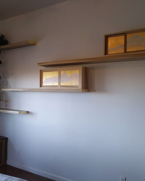 Furniture by Caleb Nakia Rogers seen at Private Residence, Joshua Tree - Floating Shelves with Boxes