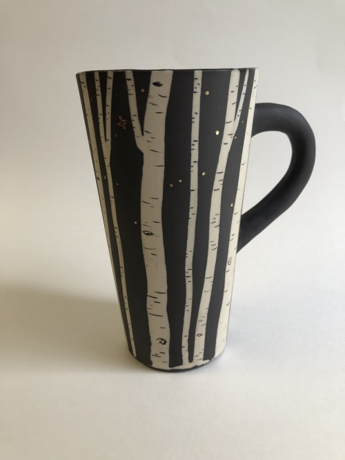 Cups by Katy Nickell Ceramics seen at Private Residence, Norman - Crescent Moon Aspen Mug w/ Real Gold