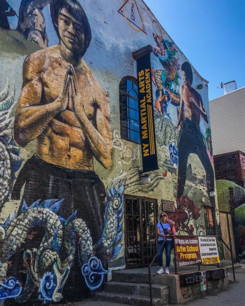 Street Murals by Cern seen at NY Martial Arts Academy, Brooklyn - Bruce Lee