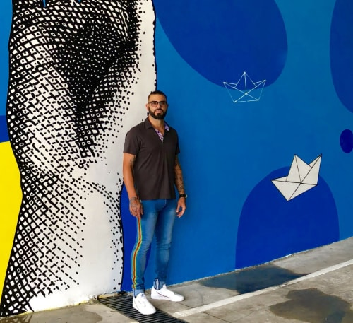 "Murals by RIGO LEON HERRERA seen at 2500 Biscayne, Miami - "" build your own dream "" ( Paper Boat & Helping Hand Series )"