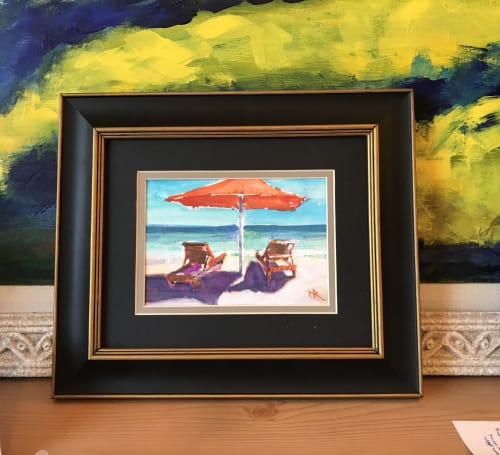 Paintings by Mark Ross, Next Thing Art seen at Private Residence - Orange Umbrella