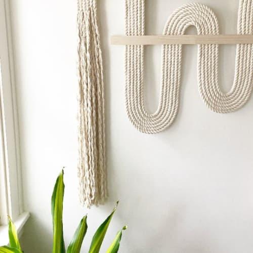 "Macrame Wall Hanging by Candice Luter Art & Interiors seen at Private Residence, Cedar Rapids - ""Vibrato"" Macrame Textile Fibeart Fringe Modern"