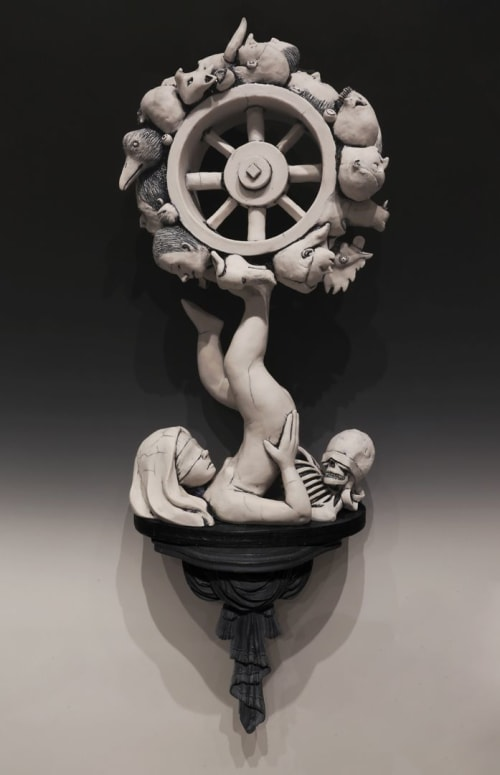 "Sculptures by Joseph Kowalczyk seen at Private Residence, Oakland - ""Wheel of Fortune"""