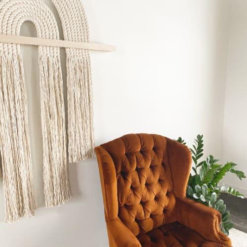 "Macrame Wall Hanging by Candice Luter Art & Interiors seen at Creator's Studio, Cedar Rapids - ""Flow""-Kimono Modern Fiberart Macrame Contemporary"